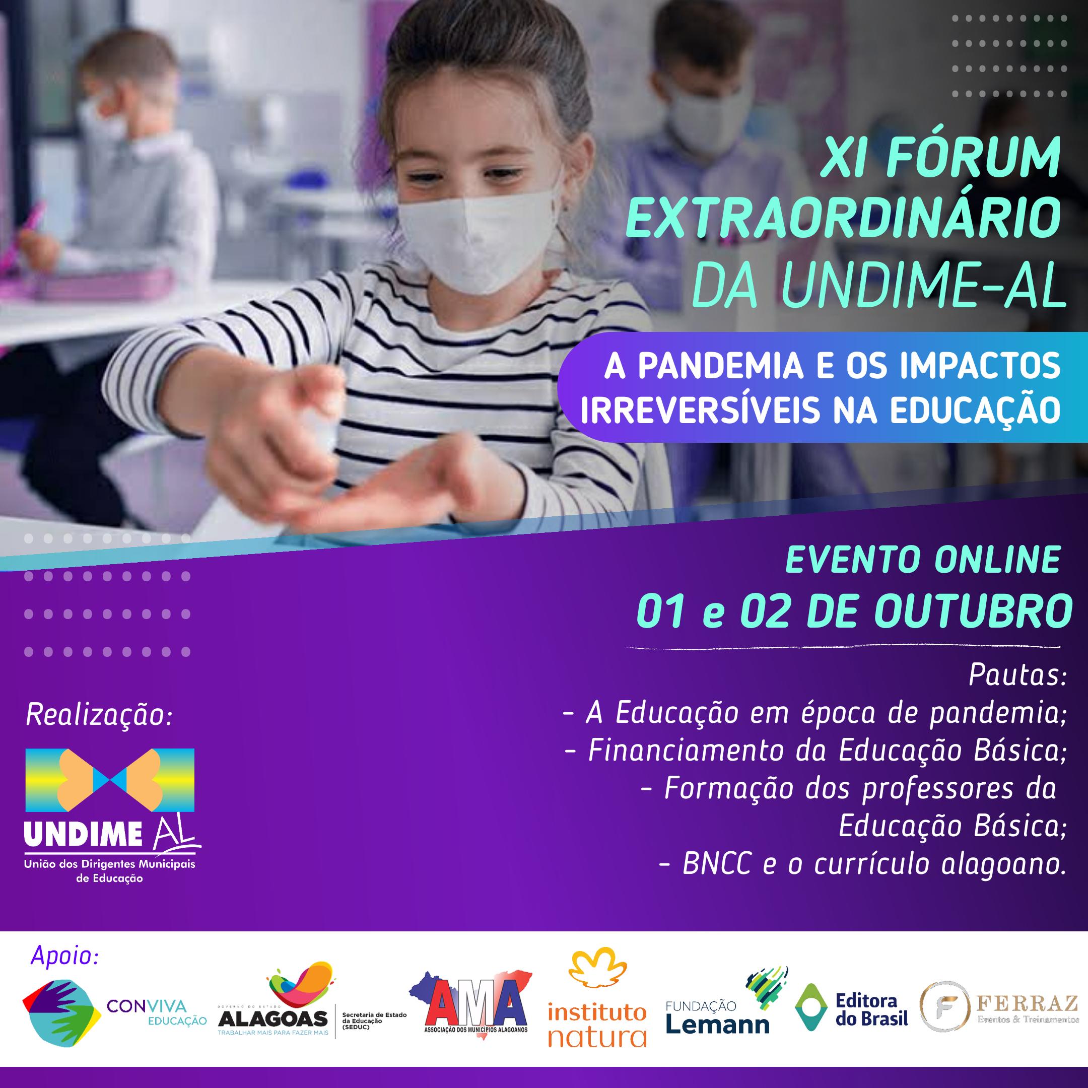 Undime-AL realiza XI Fórum Extraordinário nos dias 01 e 02 de outubro de 2020