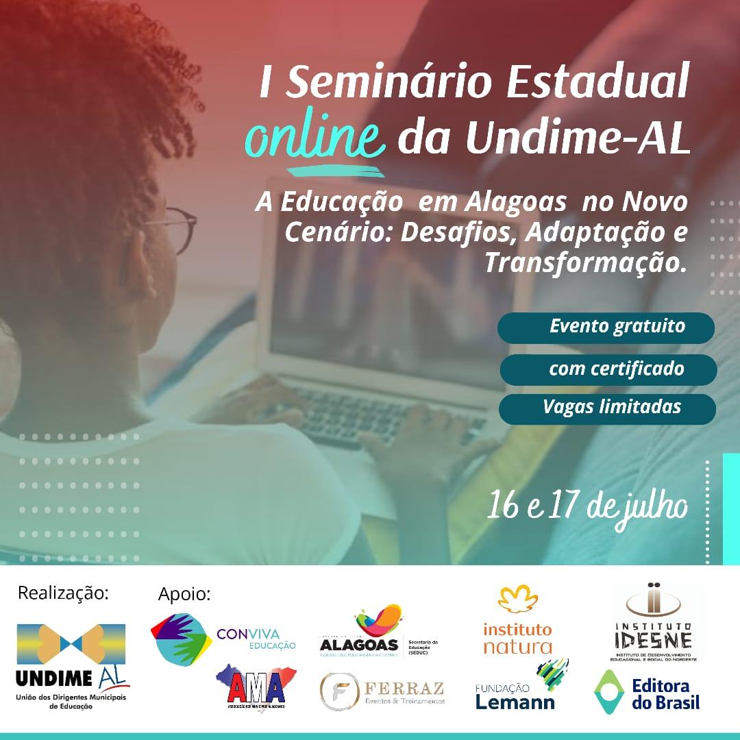 Faça agora sua inscrição - I Seminário Estadual Online da Undime Alagoas